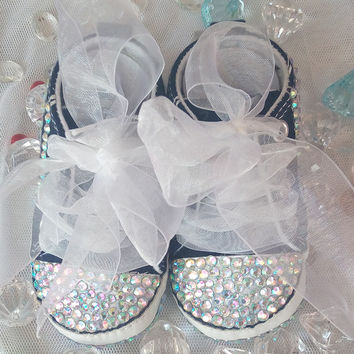 Baby Bling Newborn Baby Girl Navy Tennis Shoes Hi-Tops