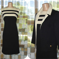 Vintage 60s MOD Colorblock Dress Jacket Set | 1960s Little Black Dress | Virgin Wool Shift Dress | Black & Cream Striped Dress Suit | Sz 14