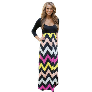 New 2015 Autumn Floor Length Dress Beach Style 5 Colors Three Quarter Sleeve Best Day Ever Chevron Print Maxi Dress LC60584