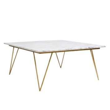 Worlds Away Neal Gold Leafed Coffee Table with White Marble Top