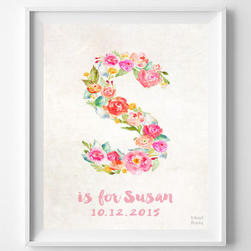 Nursery Art, Print, Susan, Custom Name, Personalized, Baby Shower, New Born, Sarah, Sophia, Stella, Gift, S, Baby, Initial, Girl