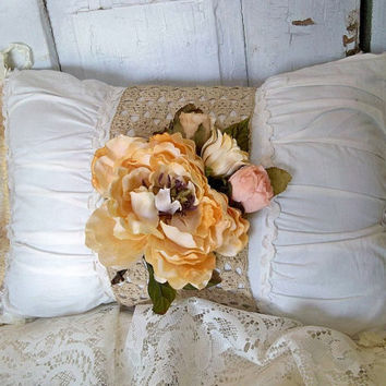 Shabby chic white and yellow accent pillow recycled crochet ruffles throw Anita Spero