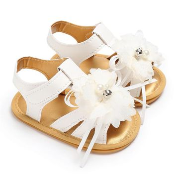 ROMIRUS Princess Flower Sandals for Girls Newborn Infant Summer Girls Crib Shoes Baby Sneakers Sandals Footwear White Pink Shoes