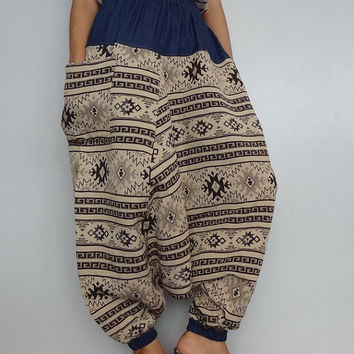 Harem Drop crotch pant,Unisex Baggy Trouser, Tribal Woven fabric(pants-W2).
