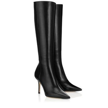 Jimmy Choo Women Fashion Leather High Boots Stiletto Shoes 1
