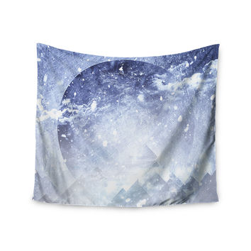 "Ulf Harstedt ""Even Mountains Get Cold"" Blue White Wall Tapestry"