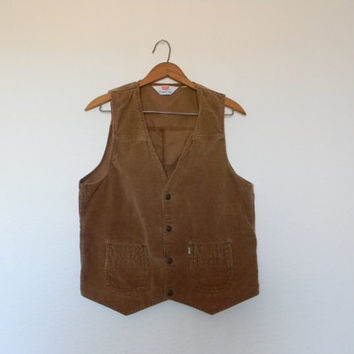 FREE usa SHIPPING vintage Apparel unisex corduroy vest Levi's Panatela Tops retro hipster nerdy geek