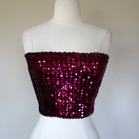 1980's pink sequin tube top, body con strapless crop top, Small to medium, US 6 to 8