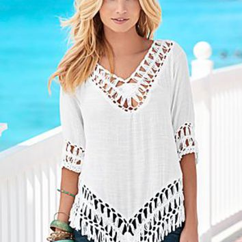 Off White (OFWH) Crochet Fringe Tunic