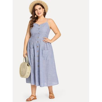 Plus Button Up Pocket Front Pinstripe Cami Dress
