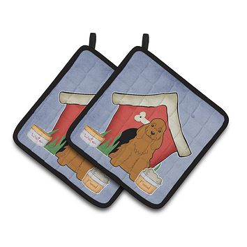 Dog House Collection Cocker Spaniel Red Pair of Pot Holders BB2849PTHD