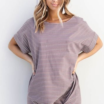 Be My Baby Mauve Stripe Tie Jersey Dress