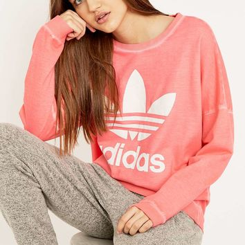 adidas Originals Premium Essentials Washed Pink Sweatshirt - Urban Outfitters