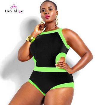 One Piece Bathing Suit New Plus Swimsuits Women One Pice Solid High Neck Sexy Plus Size Swimwear Party Beach Hollow Push Up Bathing Suit Monokini KO_9_1