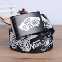 """VANS"" Men and women leisure belt han edition automatically canvas woven belt Black"