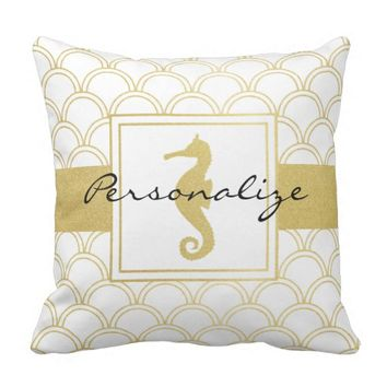 Art Deco Pattern Seahorse Faux Gold Vintage Throw Pillow