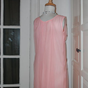 50s, 60s Nightgown, Pink, Chiffon, Baby Doll, Embroidered Collar, Size Small/Medium