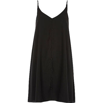 Black button detail slip dress - slip / cami dresses - dresses - women