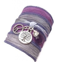 Tree of Life Silk Bracelet with Peace Sign and Amethyst | charmed design