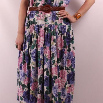 Vintage 80s 90s - Pink Blue White Rose Floral - Button Up - Pleated Drop Waist - Cotton Tank Top Midi Dress - Romantic Grunge - Plus Size