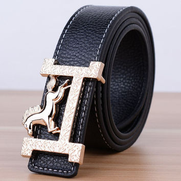 [TG] New Arrival High Quality Women Belt Fashion Designer Faux Leather Strap Belts For Women Horse Letter Buckle Waistband