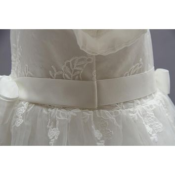 Elegant Ivory Baby Girls Long Hollow Out Lace Dresses O neck High Waist Christening Gown Kids Princess Dress