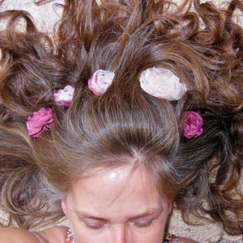Girly Girl Hair Flower Burgundy Red and Mixed with Pink. Beaded Centers Bobby Pin