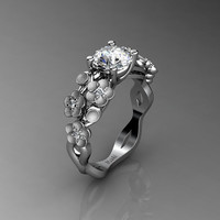 Nature Inspired 14K White Gold 1.0 Ct White Sapphire Diamond Floral Engagement Ring R1022-14KWGSDWS