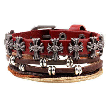 Punk Style Faux Leather Cross Beads Bracelets