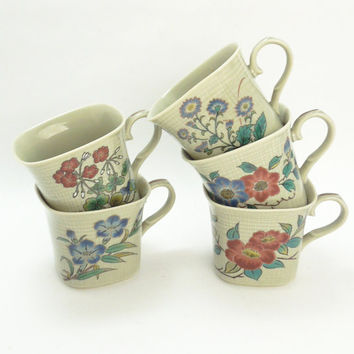 Very cute square porcelain floral tea cups or espresso cups or mini coffee cups (Set of 5)