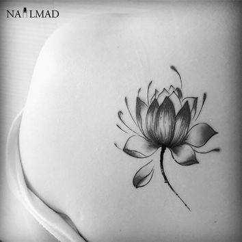 2pcs Black Lotus Temporary Tattoo Waterproof Tattoo Flower Paste Tattoo Decals Body Art  Henna Tattoo Stickers X088