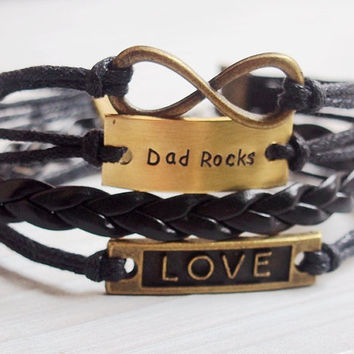 Dad's Bracelet, Infinity love bracelet daddy, Dad rocks bracelet, quote bracelet, engraved bracelet, black leather, Best gift for PAPA