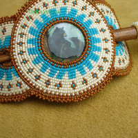 Native American Style Rosette beaded Momma Bear with Cubs Hair Stick Barrette in Cerulean,Gingerbread and Antique bone pearl