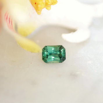 Radiant Cut Blue Green Sapphire Faceted Gemstone for Gemstone Jewellery September Birthstone by Rogerio Graca