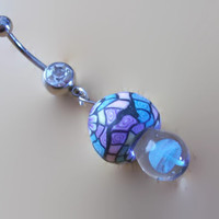 Fimo and Glass Mushroom Belly Ring Body Jewelry