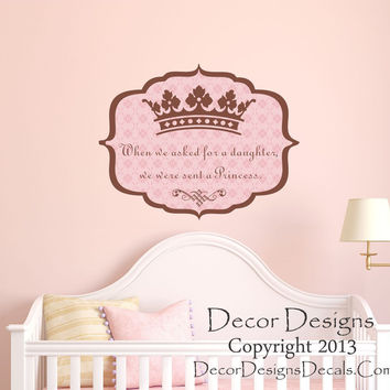 Princess Crown Personalized Vinyl Wall Decal- by Decor Designs Decals, Girls Decals - Wall Decal Girls Nursery Bedroom - Princess Decal Crown Wall Decal Girls
