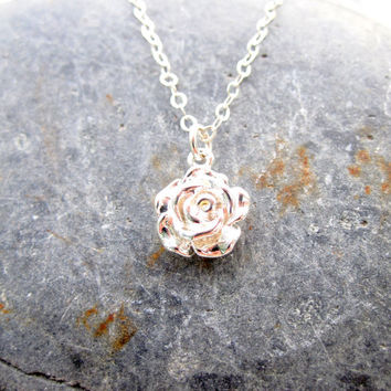 Silver Rose Necklace Sterling Silver Necklace Minimalist Necklace Mother's Day Necklace Bridesmaid Necklace Pendant Necklace