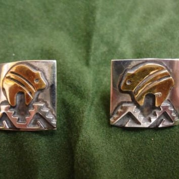 Native American Jewelry Sterling Silver with gold earrings TOMMY SINGER NAVAJO