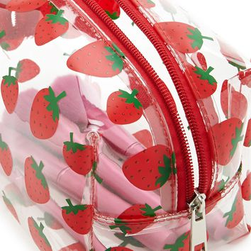 Strawberry Print Makeup Bag