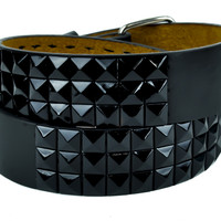 All Black 3 Row Pyramid Stud Belt Genuine Leather