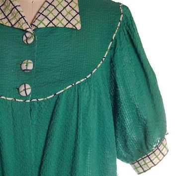 Vintage Green Seersucker Housecoat /Robe/Dress 1930s Any Sz