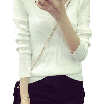 Solid Color Ribbed Knit V-Neck Pullover Sweater