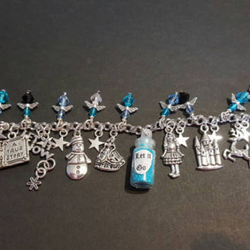 Disney frozen let it go inspired stainless steel charm bracelet