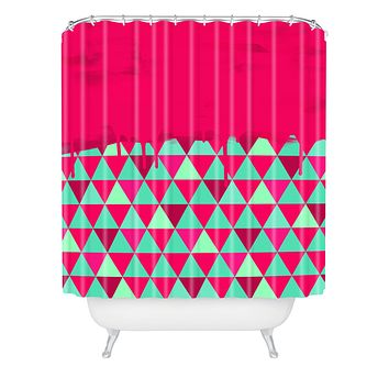 Jacqueline Maldonado Triangle Dip Pink Shower Curtain