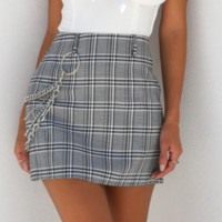 New Plaid Skirt Female Wind Sexy Punk Chain Bag Hip Skirt