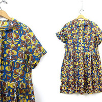 Mid Century Print Dress 1950s Button Front Short Sleeve Day Dress Cotton Midi Dress Summer Shirt Collar House Dress Vintage