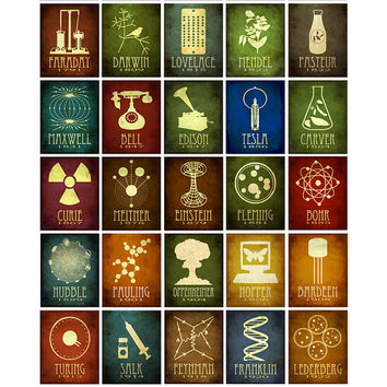 35 Science Stickers - Steampunk Rock Star Scientist Cosmic Pioneer Astronomy and Microbiology Vinyl Sticker Art Prints