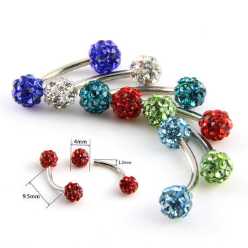 1 Pc Surgical Steel Curved Barbell AA Crystal Eyebrow Ring Ear Anti Tragus Helix Rook Bridge Web Piercing Lip Stud Body Jewelry