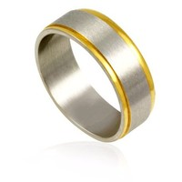 Stainless Steel 2 Gold Plated Band Ring SS