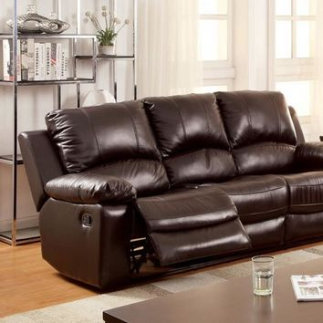 Dark Brown Davenport Transitional Style Sofa